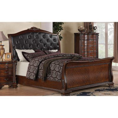 Coaster Furniture Maddison Tufted Upholstered Sleigh Bed, Size ...