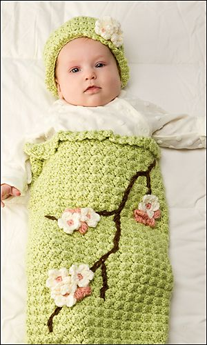 Ravelry: Apple Blossom Baby Cocoon & Hat pattern by Susan Badgley ...