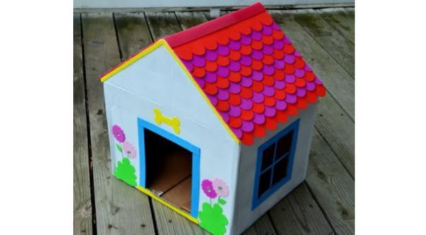 Doghouse Recycled Cardboard Dog House Diy Cardboard Box Houses