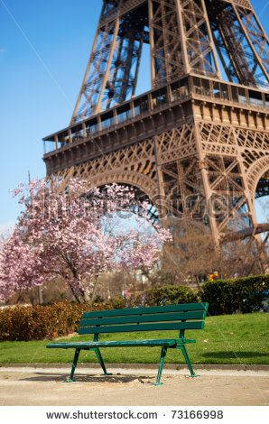stock photo spring in paris bench near the eiffel tower with