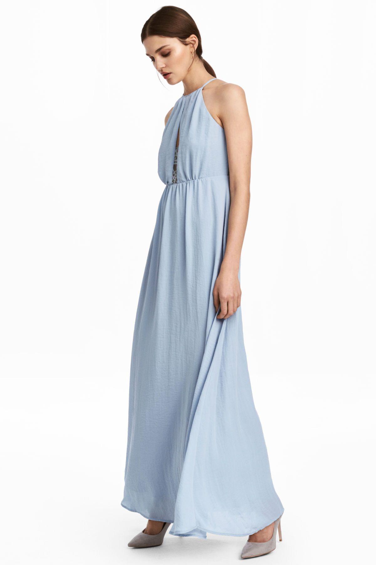 c8b5de38a4f0b Long Dress with Lace Back | Light dusky blue | WOMEN | H&M US ...
