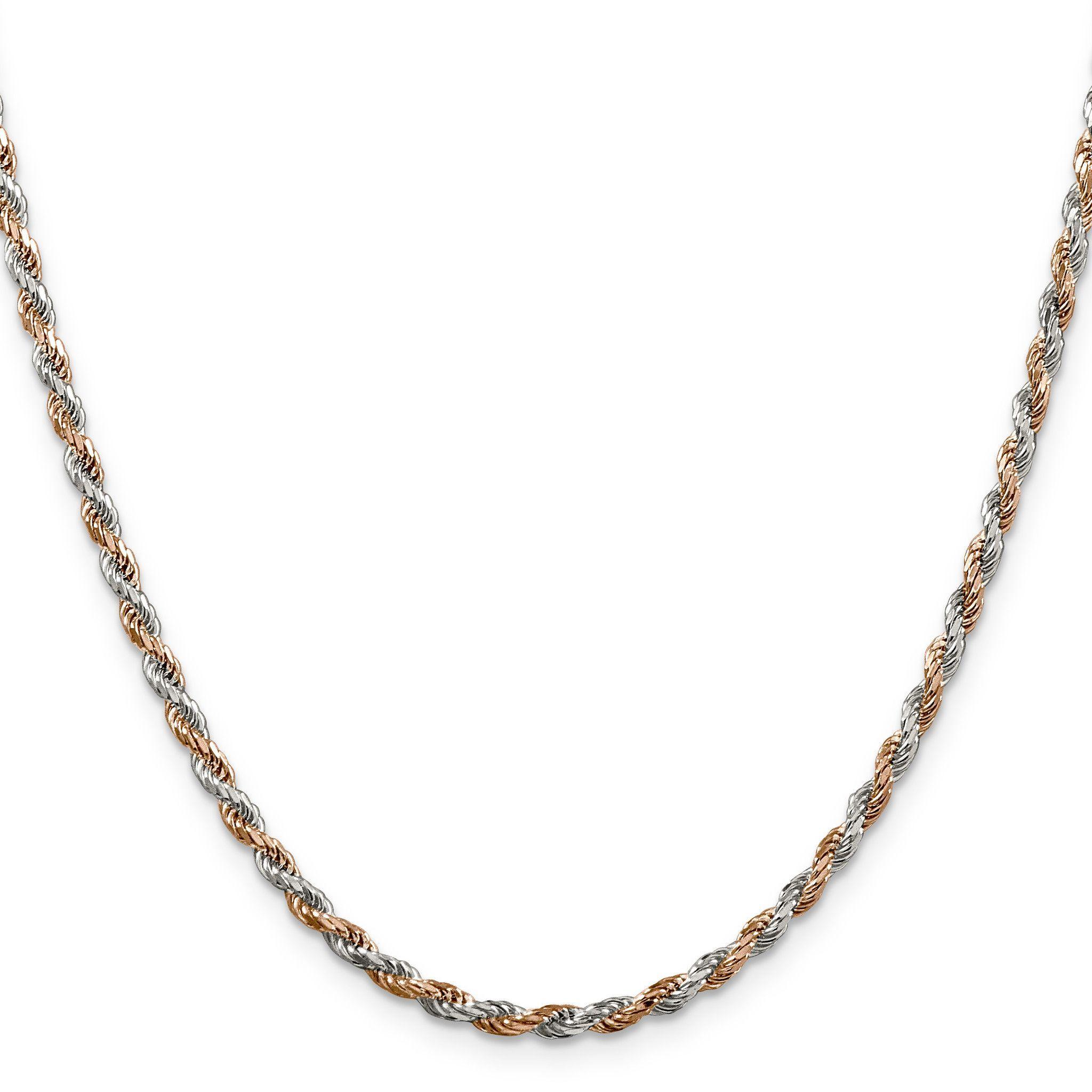 Sterling Silver 2.5mm Rose Vermeil Diamond-cut Rope Chain