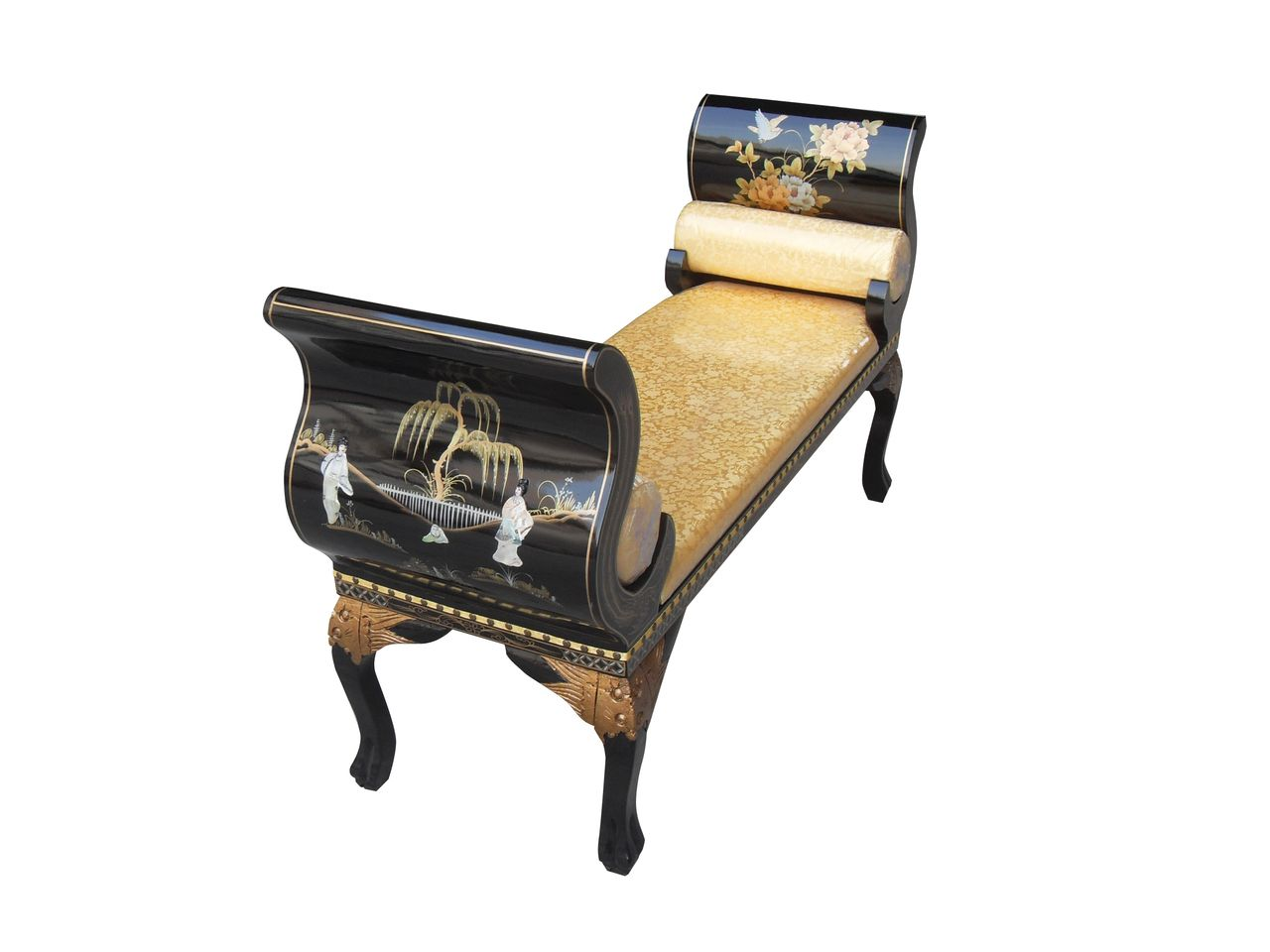 Tremendous French Style Bench Finished In Black Lacquer And Mother Of Pdpeps Interior Chair Design Pdpepsorg