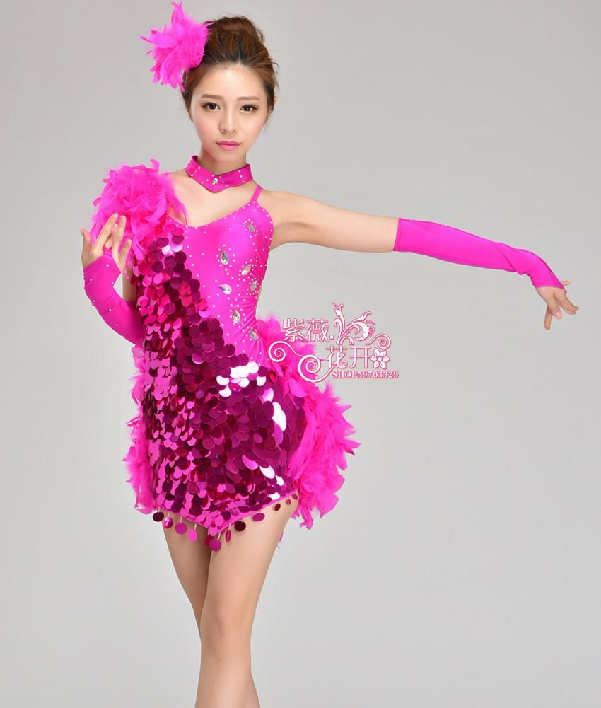 cbc7bec2e8c4a Girl Latin Dance Dresses For Sequin/feather style Cha Cha/Rumba/Samba/ Ballroom/Tango Dance Clothing Kids Dance Costume