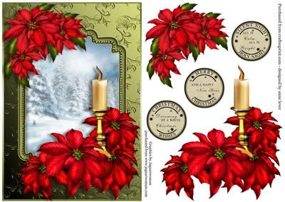 Red Poinsettia Snow Scene Decoupage on Craftsuprint designed by Anne Lever - This lovely topper features gorgeous red poinsettias with a candle, with a beautiful snowy tree mountain scene backdrop. It has decoupage to add depth. It has three greetings to choose from, they are, silent night holy night all is calm all is bright, christmas wishes dreaming of a white christmas, merry christmas and a happy new year. - Now available for download!