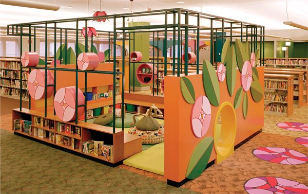 the garden themed toddler area at the evanston il public library has ample seating for caregivers designs for low ceilings