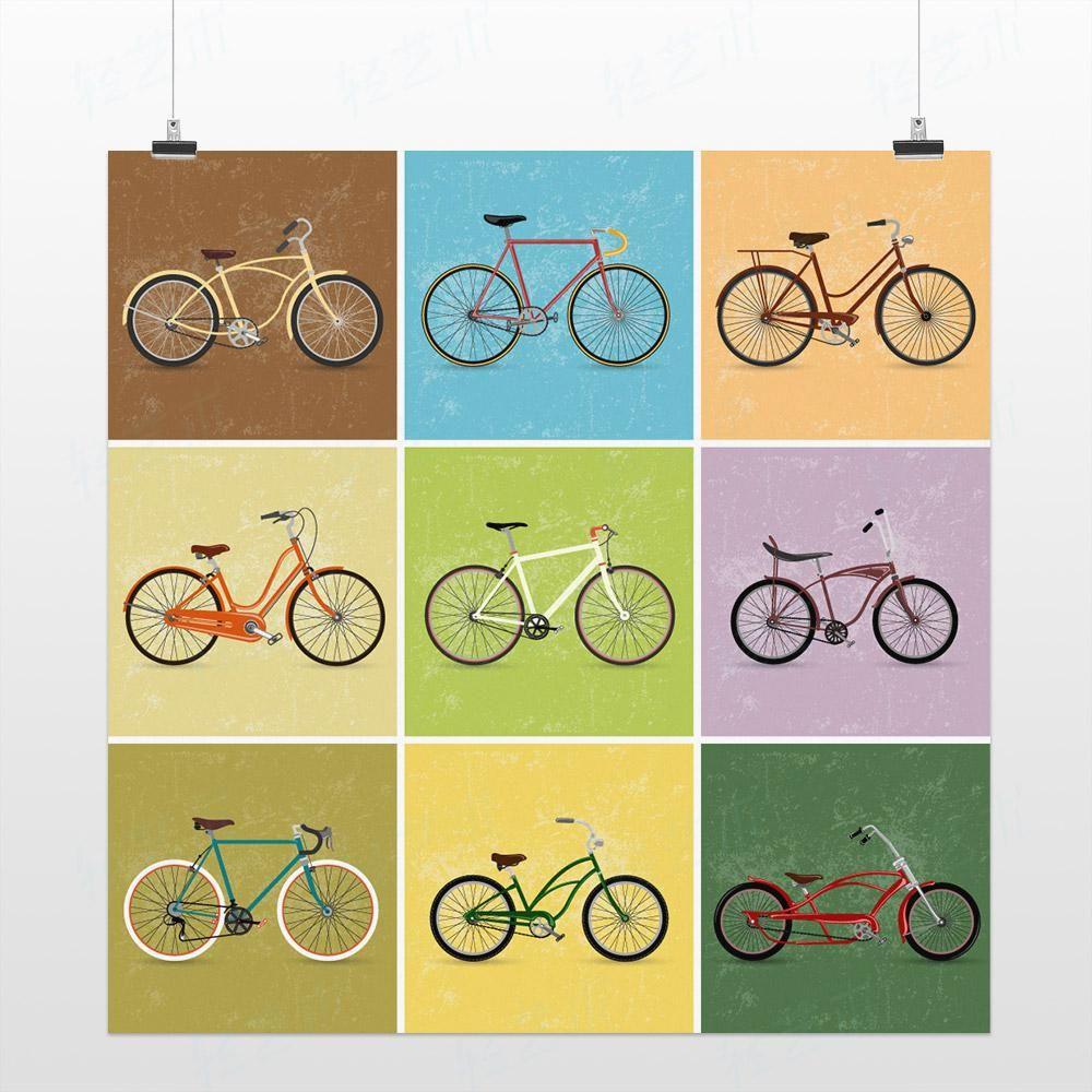 Wholesale Paintings - Buy Light Art Drawing Colorful Bike Bicycle ...