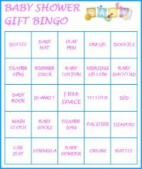 Baby Shower Gift Bingo Game, Includes 20 Pre Filled Baby Shower Bingo Cards.