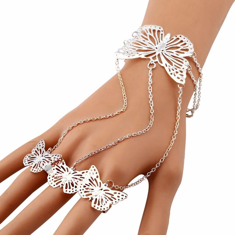 Get off our womenus butterfly lace finger ring bangle bracelet