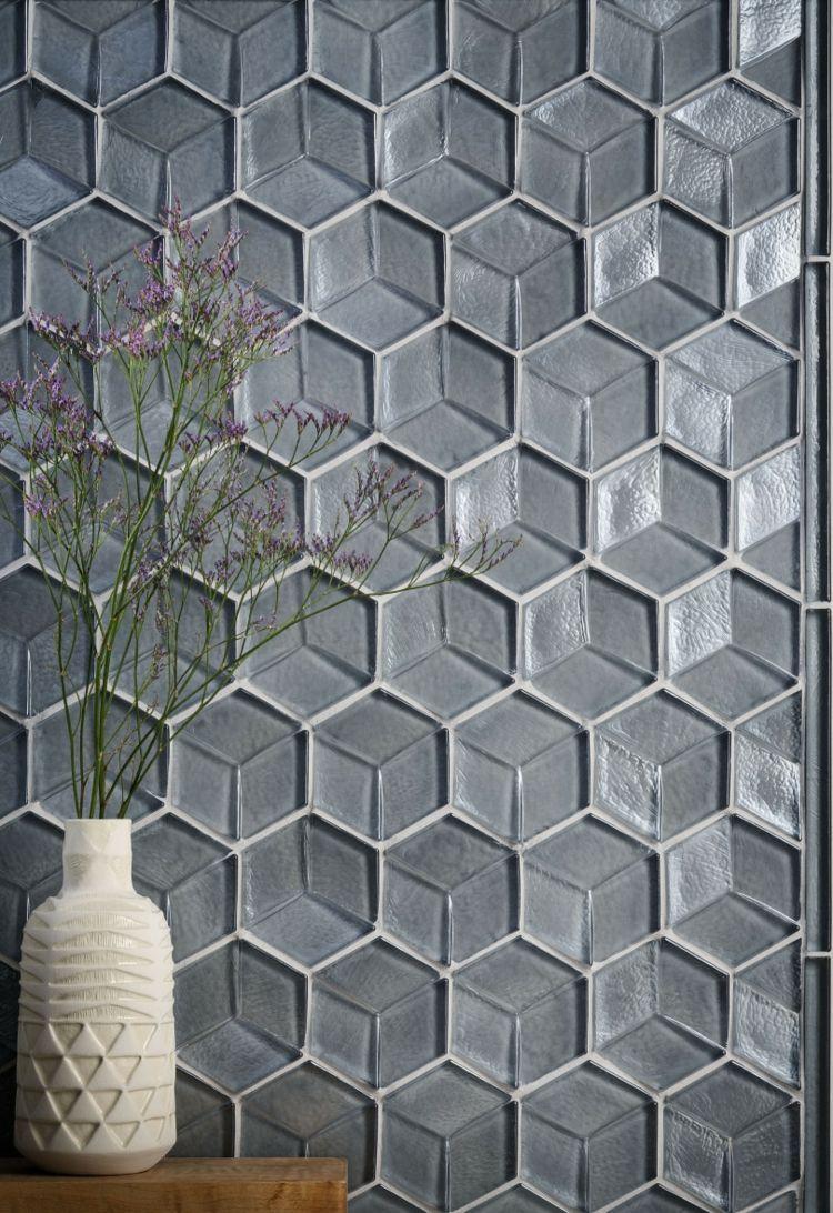 hexagon fliesen glas 3d optik grau schlicht wände