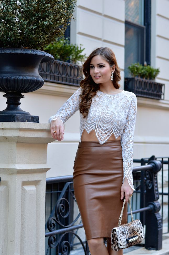 73c60395e0 Uptown Girl – Between Meetings with Lara Caspari brown leather pencil skirt  outfit