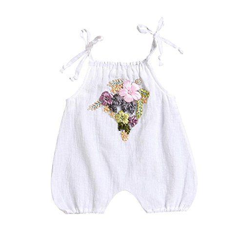 102018e5ed64 0-18M Newborn Infant Baby Girls Summer White Romper 3D Floral ...