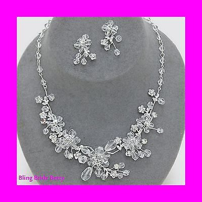 Designer Look Handmade Bridal Crystal Necklace Earring Set Silver Tone Bling