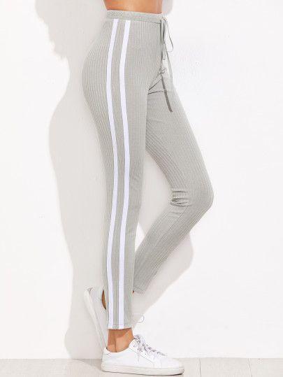 Pantalones de chándal con rayas gris | Pantalones jeans de