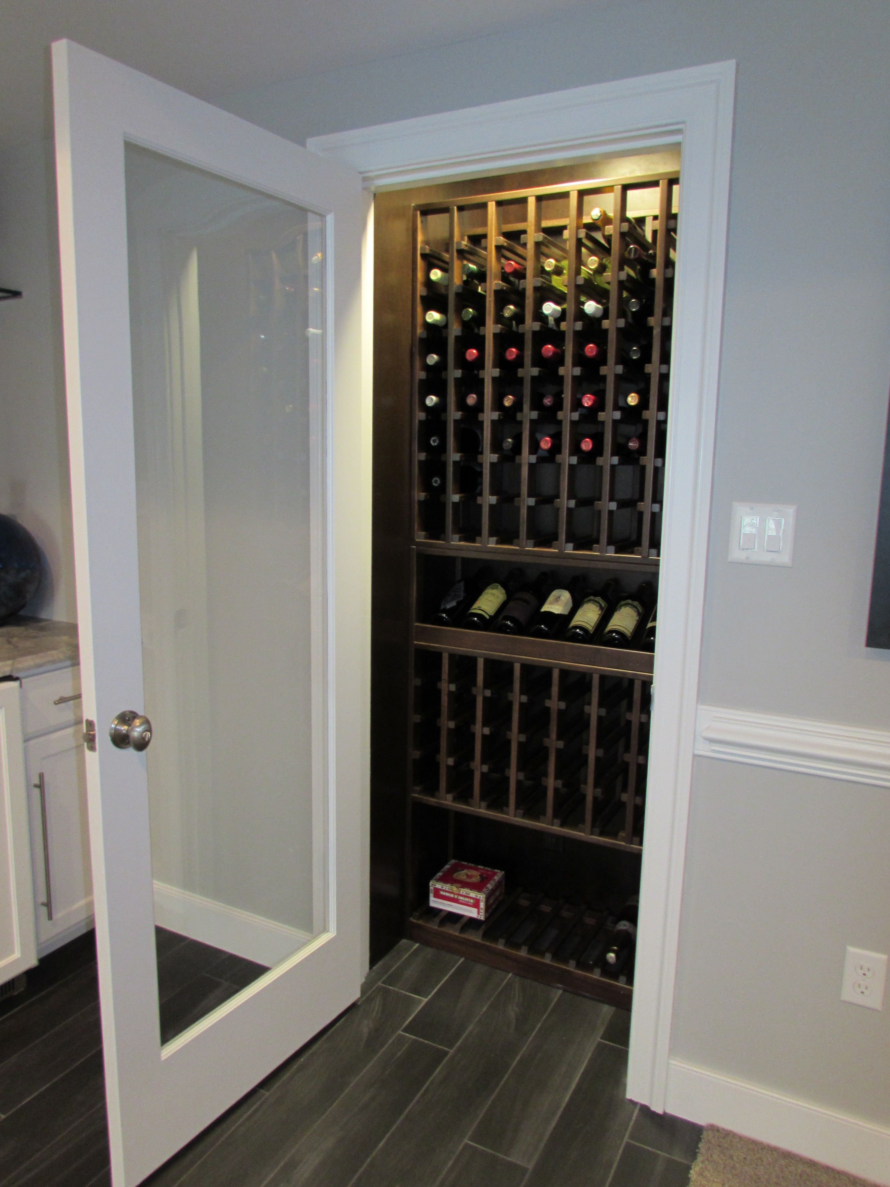 Wine closet in this Sandy Spring, MD basement remodel