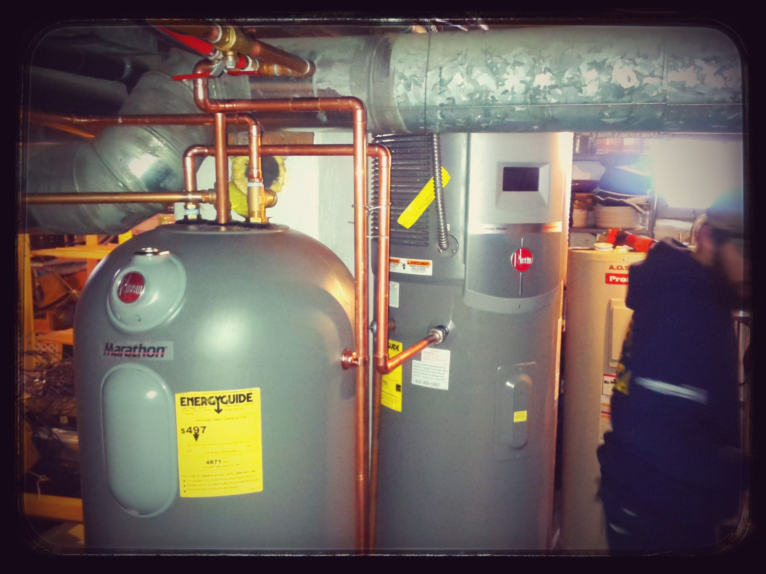 This Looks Like The System For Us Rheem Heat Pump Water Heater And The New Marathon Tank Will Help Us Hold Onto The Free Hot Water Water Heating Home Technology