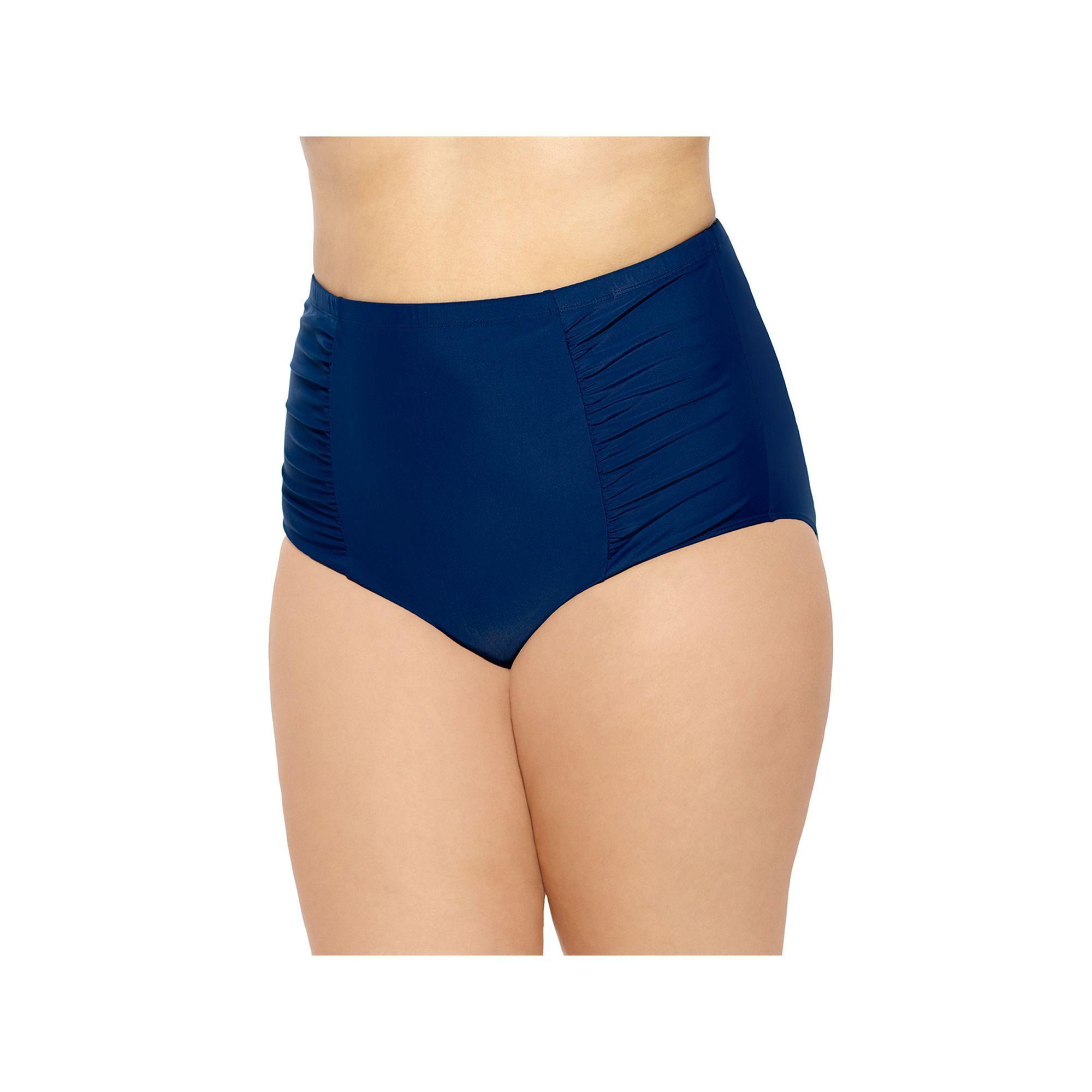 6b8fdd5549c18 Juniors' Plus Size Costa Del Sol Solid High-Waisted Bikini Bottoms, Size:  2XL, Dark Blue