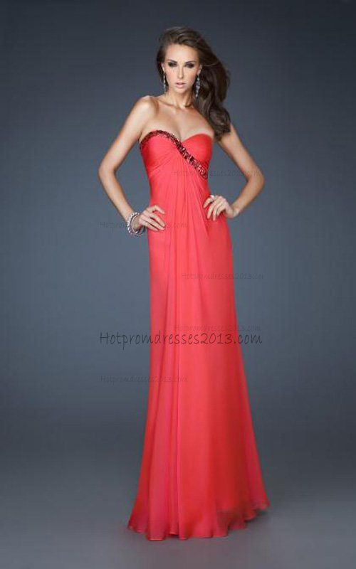 Strapless Watermelon Evening Gown On Sale [Watermelon Evening Gown ...