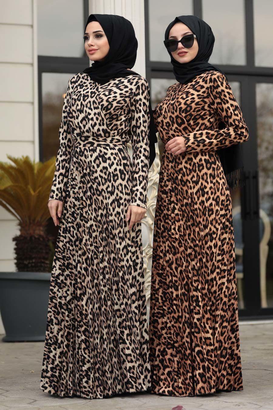 Neva Style Leopar Desenli Tesettur Elbise 1451lp Tesetturisland Com Musluman Modasi Elbise Basortusu Modasi