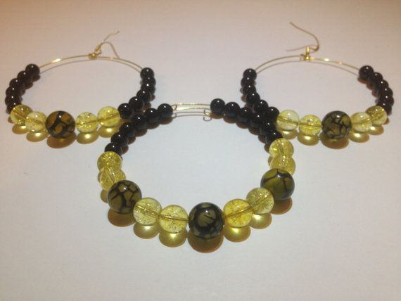 Dragon's Vein Agate, Citrine, and Obsidian Bracelet and Earrings (with nickel free hooks)