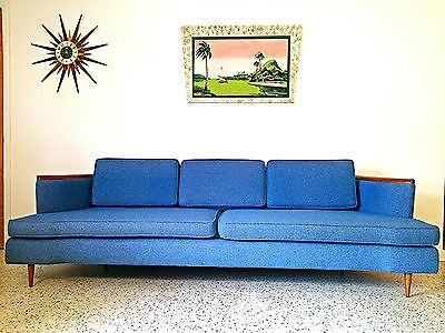 Mid Century Modern 50u0027s 60u0027s Blue Tweed Long Low Sofa Pearsall Kagan  Kroehler | EBay