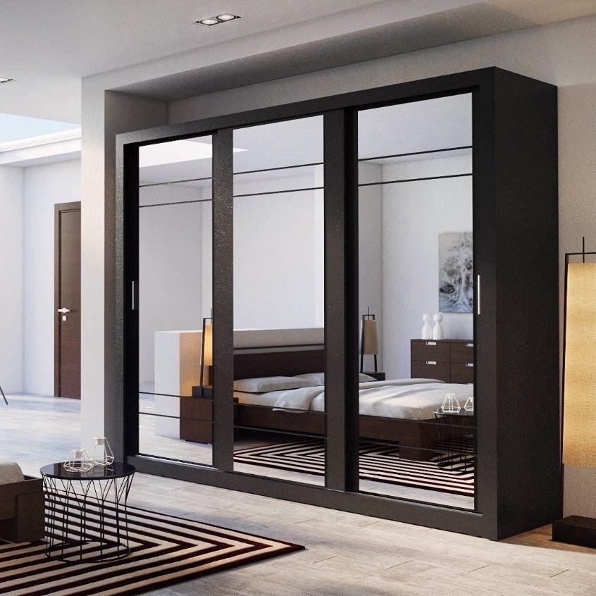 Wardrobe Closet With Mirror Sliding Doors Luxury Bedroom Cabinet