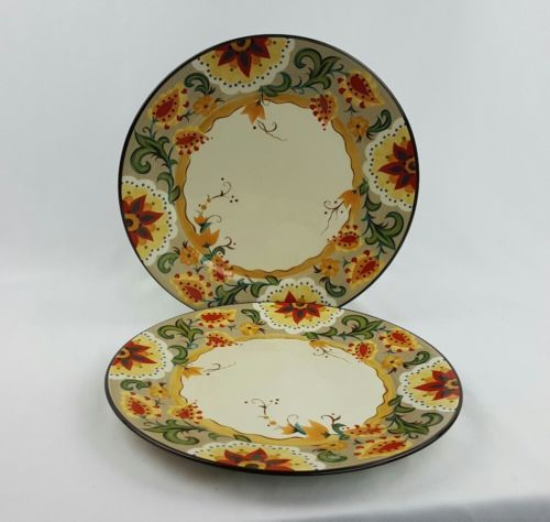 Tabletops Gallery  034 Odessa 034 11 1 4 034 Dinner Plate Set Of 2 Floral Fall Colors