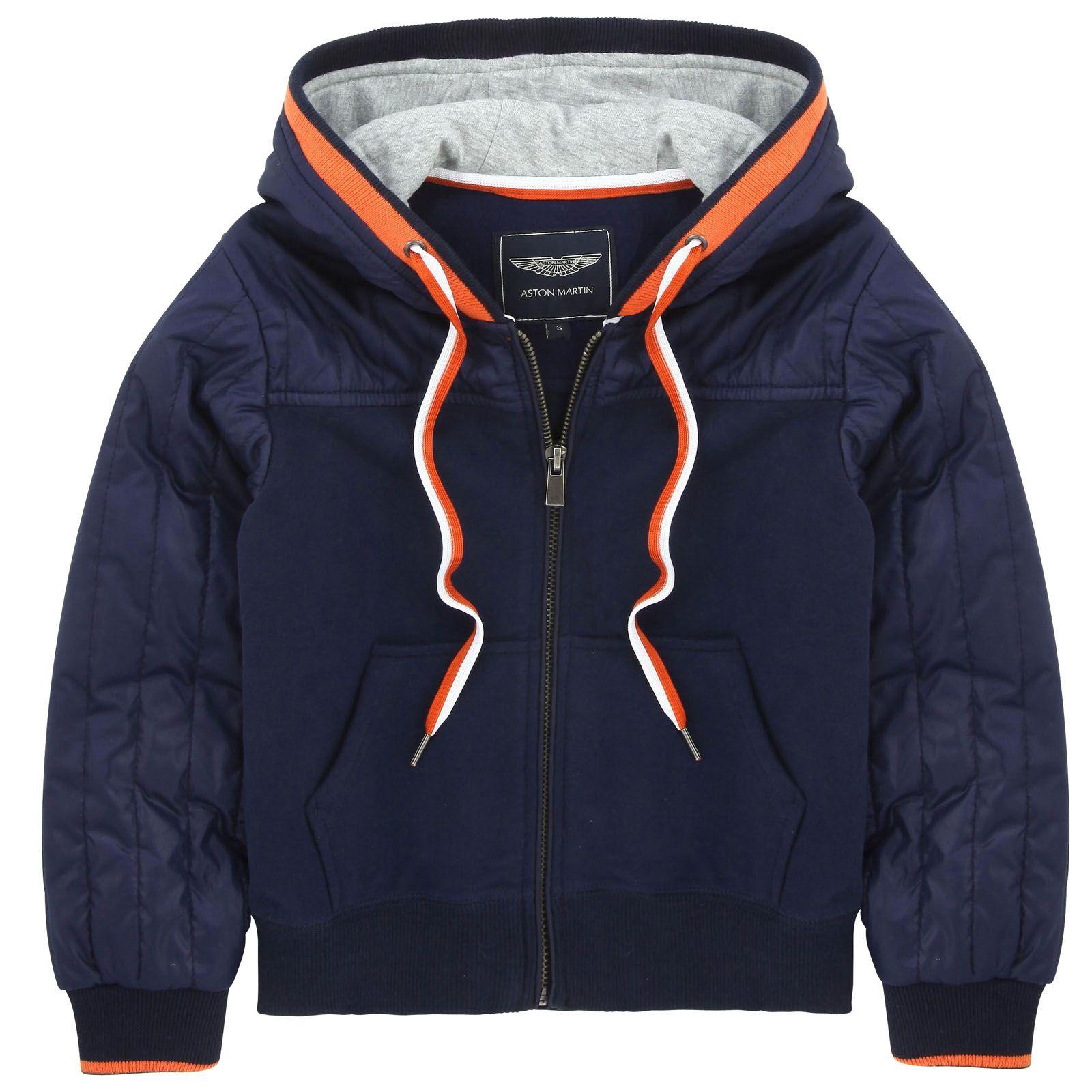 d3f455e72a357 Sweat zippé à capuche en molleton bleu marine Aston Martin pour ...