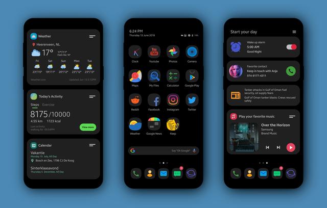 OneUI Update klwpthemes en 2020 Design centré