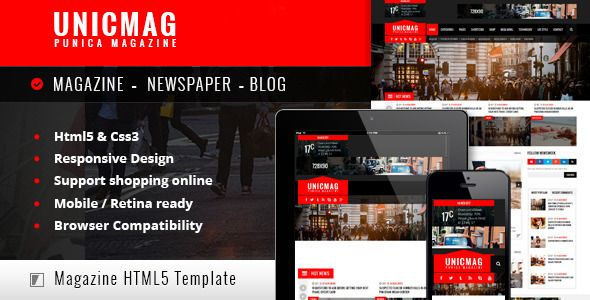 UnicMag - HTML5 Responsive Template  UnicMag is a fully - online newspaper template