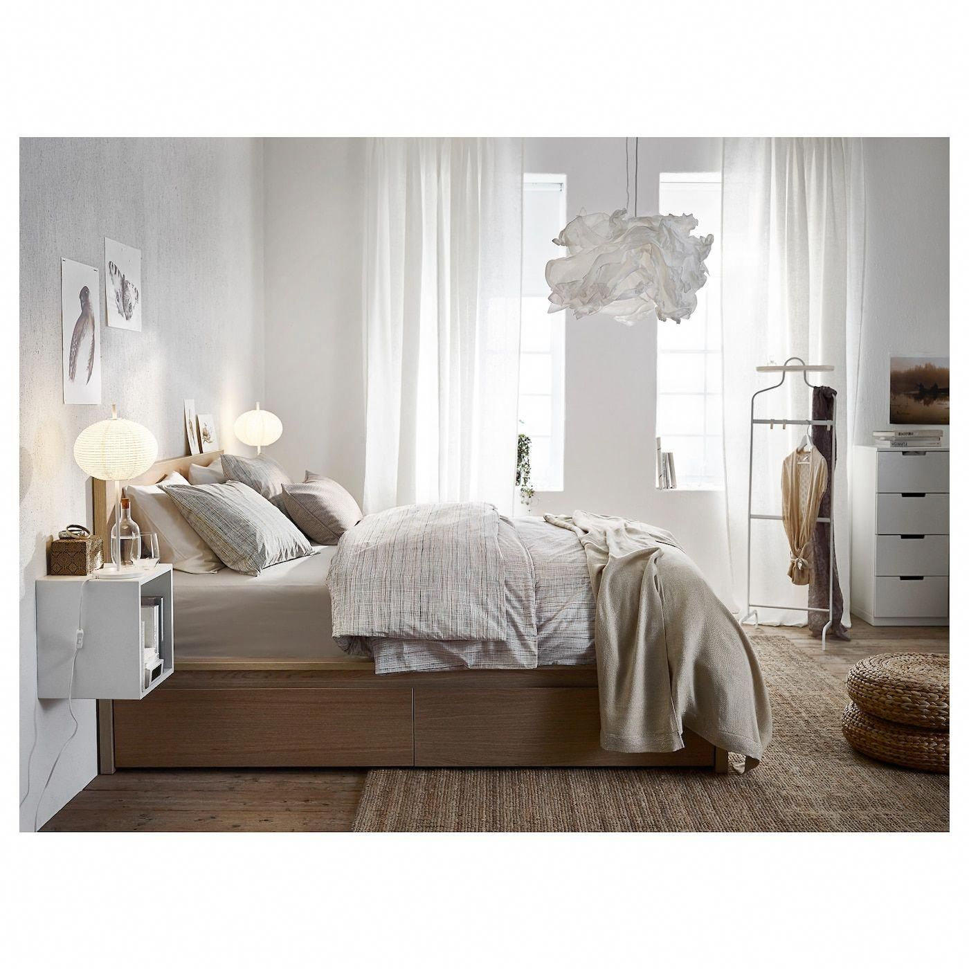 Ikea Malm High Bed Frame 2 Storage Boxes White Stained Oak Veneer Whitebedroom Malm Bed Malm Bed Frame Furniture