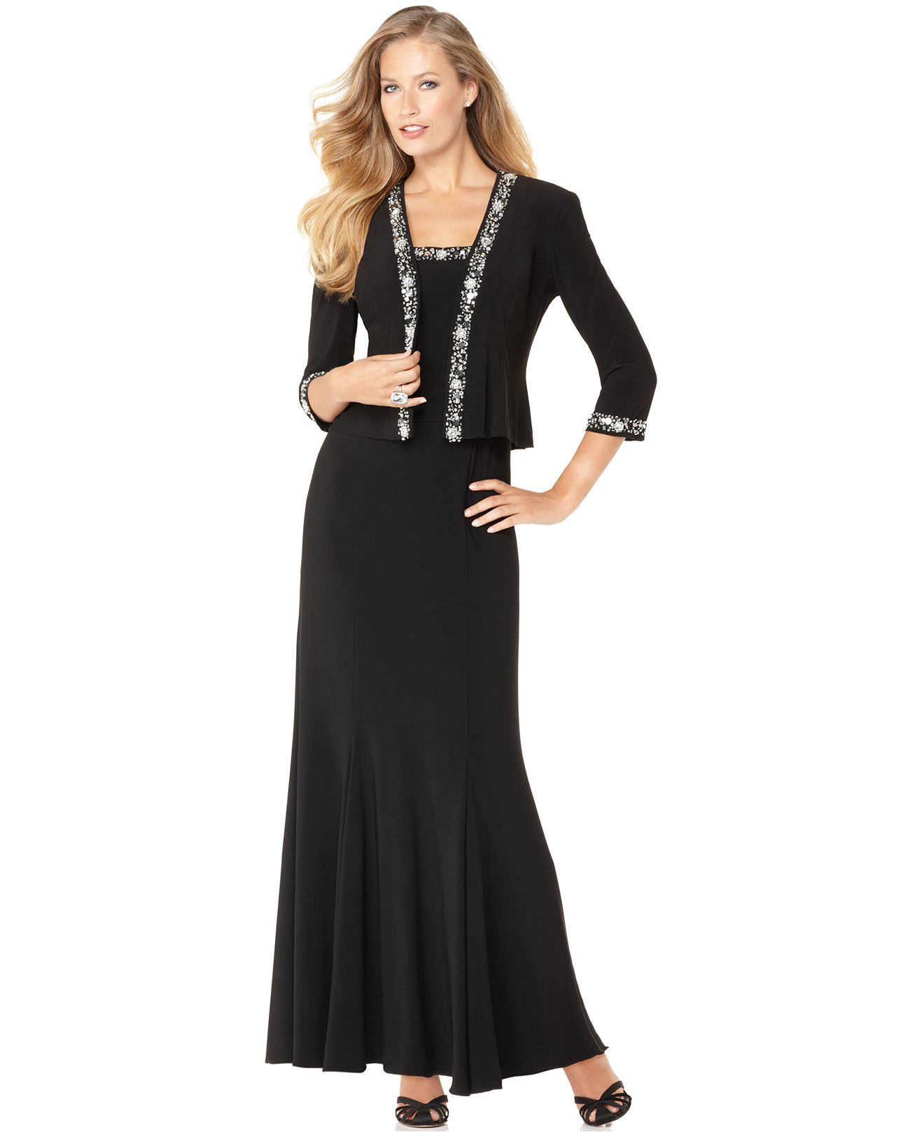Alex Evenings Dress And Jacket, Sleeveless Beaded Evening