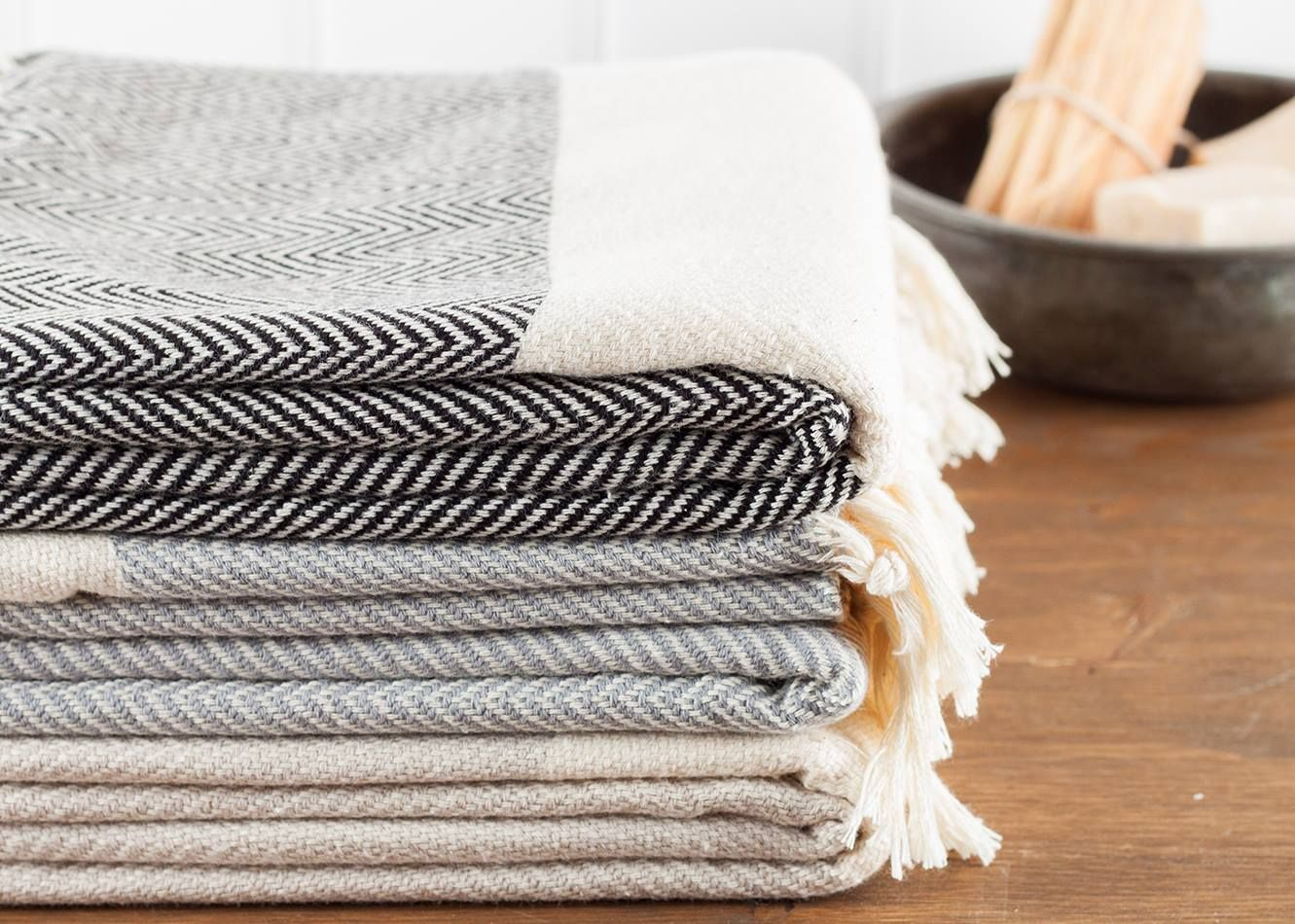 This Herringbone Zig Zag Pattern Turkish Towel Is Thick Enough To