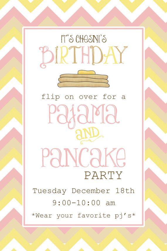 Chevron Pancake & Pajama party invitation on Etsy, $12.99 | Party ...