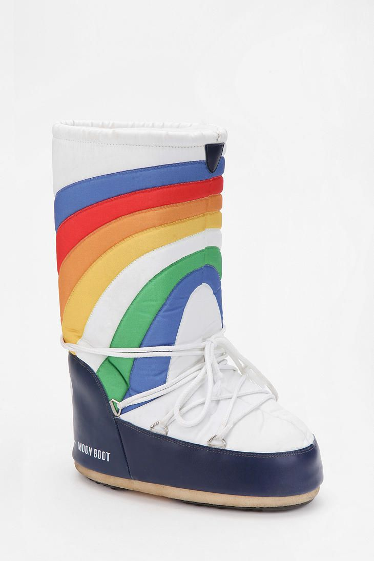 Rainbow Moonboot at urbanoutfitters.com only- these moonboots are a bit goofy, but perfect for a sci-fi geek like me!