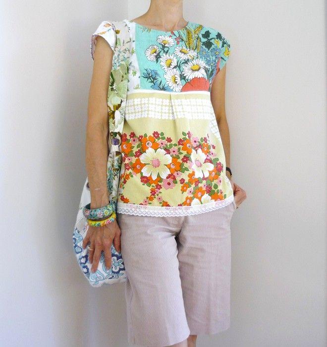 Womens upcycled vintage tunic shirt with crochet doily size 8 retro florals - by flotsamandjetsum on madeit