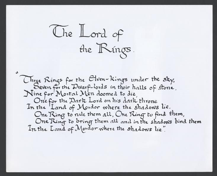 Rule One Lord Poem Them All Ring Rings English