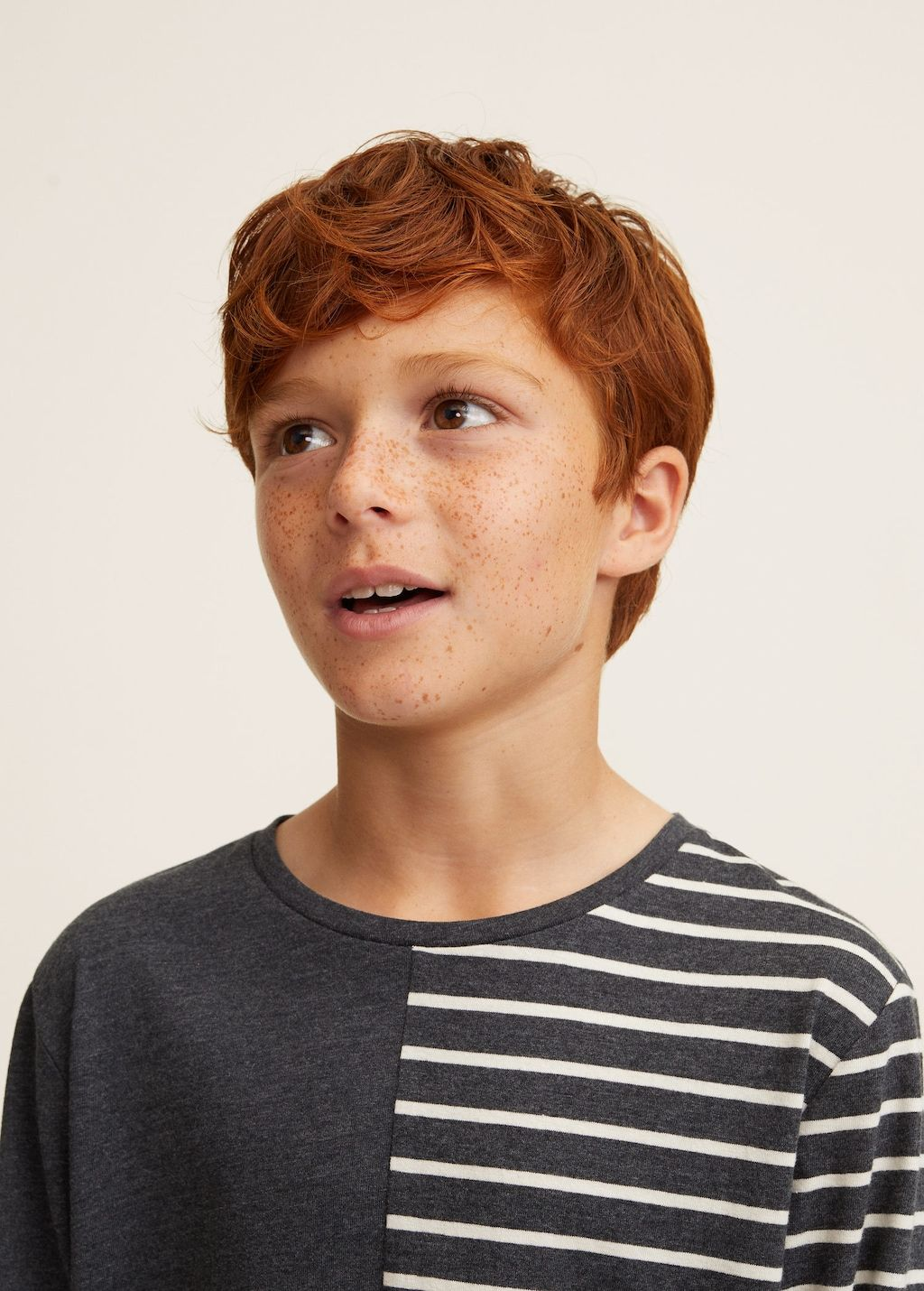 Striped contrast tshirt Boys Beauty of boys, Red head