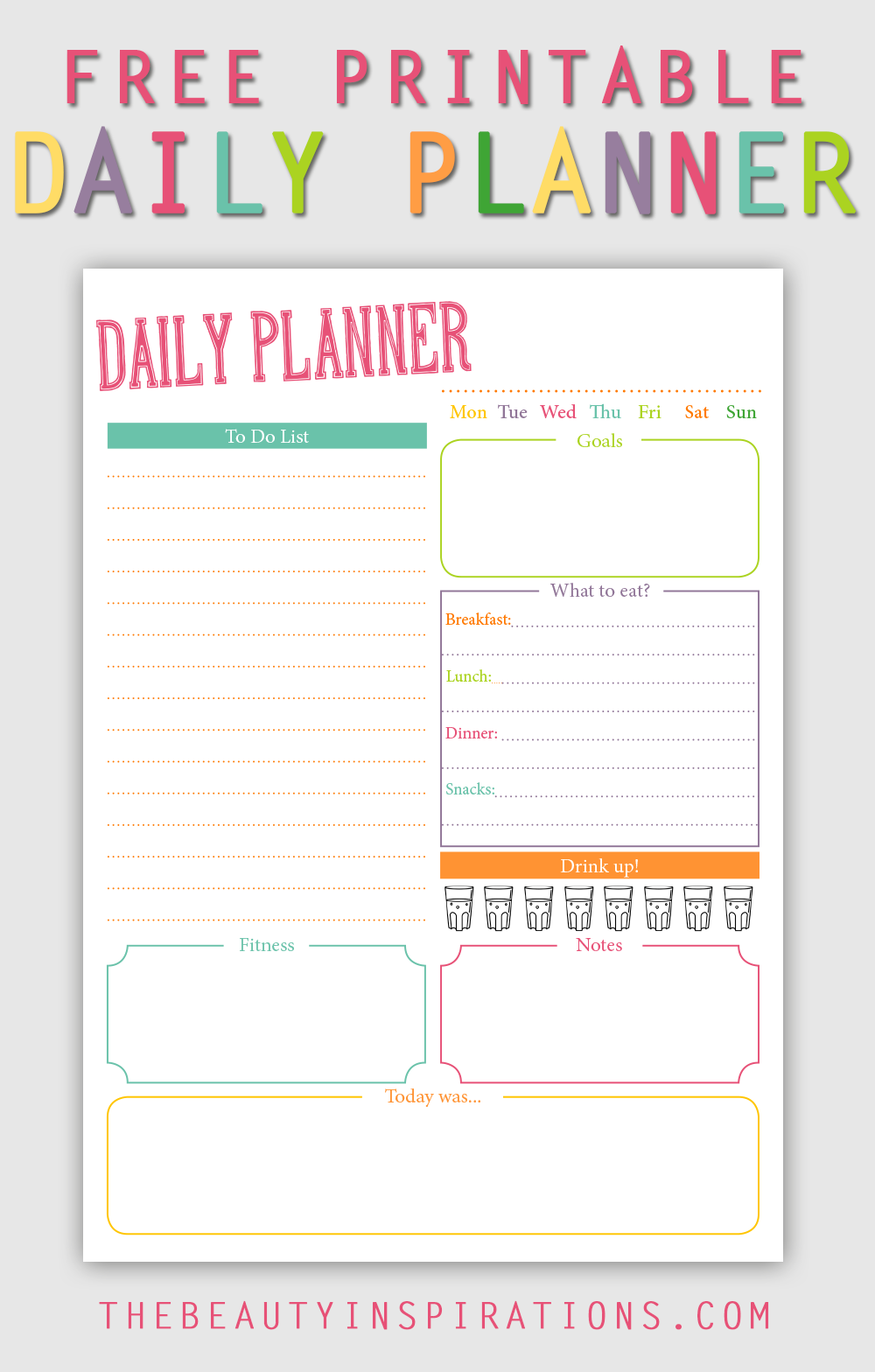 colorful and cute free printable daily planner in din a5