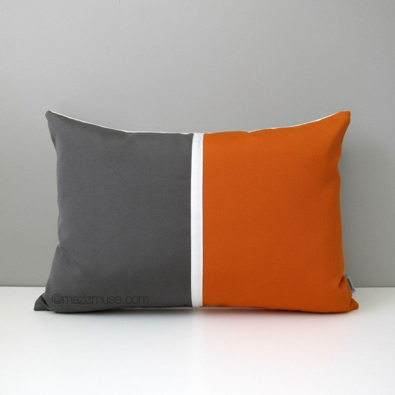 Grey Orange Outdoor Pillow Cover Mid Century Modern Color Block