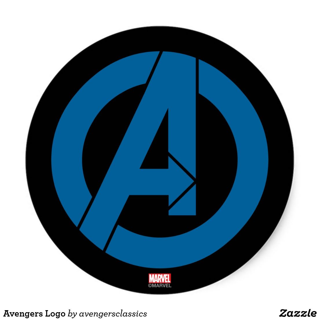 Avengers logo classic round sticker cool marvel merchandise to personalize marvel avengers birthday birthdayparty birthdaycard personalize kids