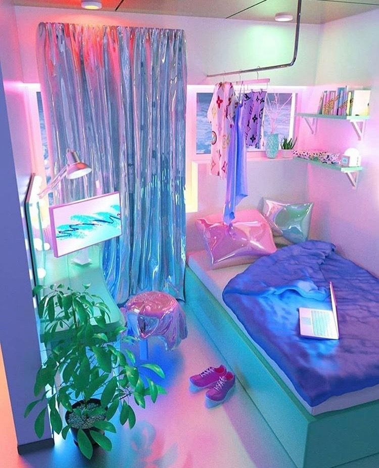 Pin By Sher On Decorating Ideas Aesthetic Bedroom Neon Room Neon Bedroom