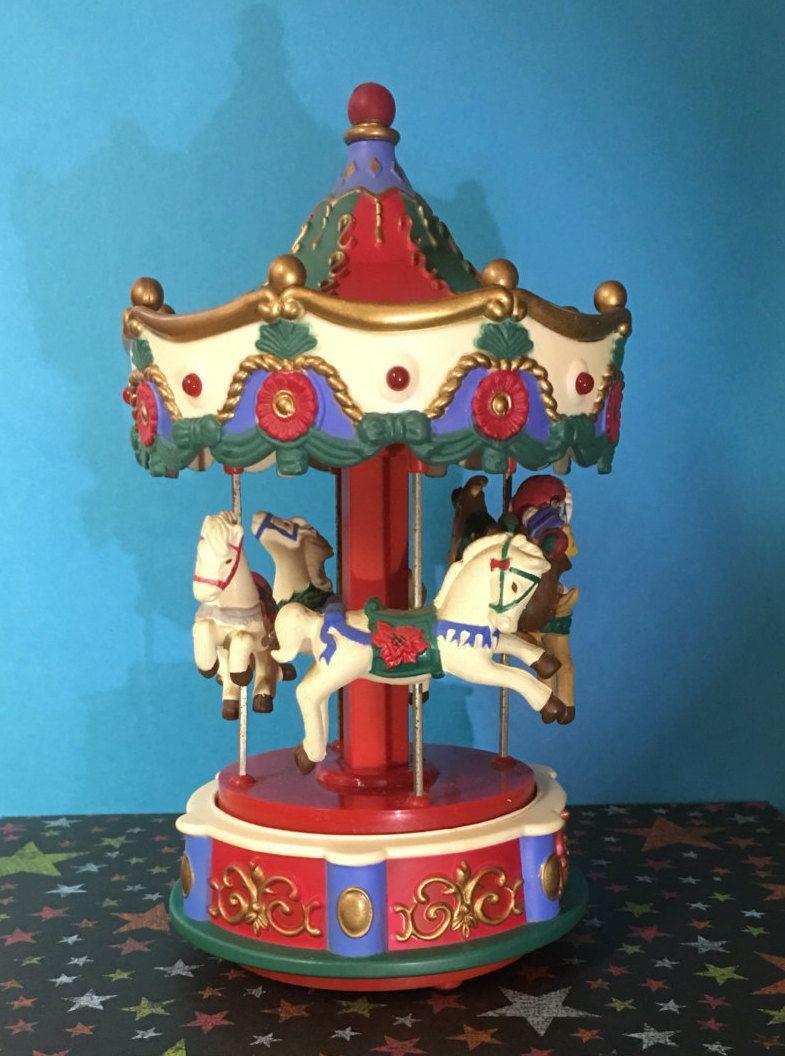 Christmas Carousel 4 horses and Santa Riding Music Box