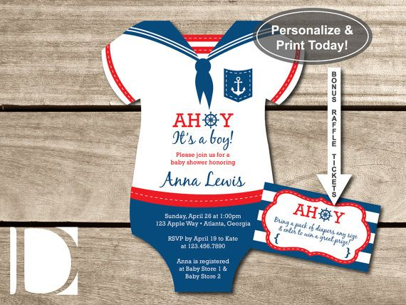 Nautical Baby Shower Invitation, Onesie, Ahoy, Itu0027s a Boy, Navy - baby shower invitation templates word