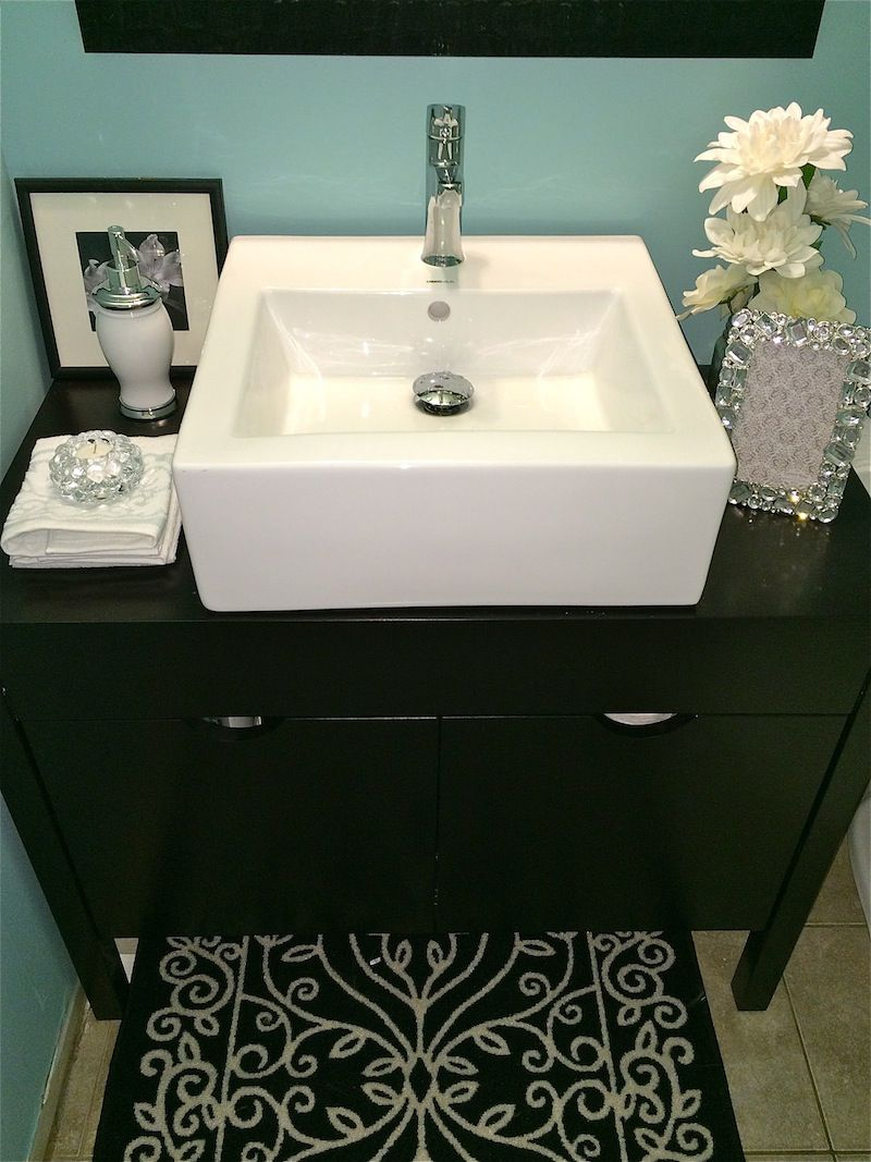 Finally Finished: Our Blue Bathroom with Black & White Accents ...
