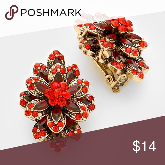 Glass Crystal Bloom Clip On Earring/Red • Color Red