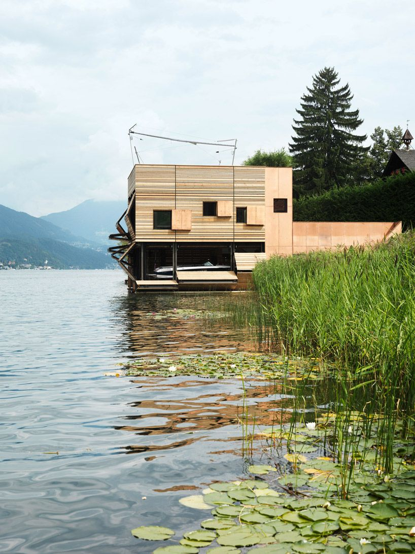 This home designed by MHM Architects is rested on Millstätter Lake in Seeboden, Austria. Made almost entirely out of only two different materials (copper panels and lumber planks)—its got a...