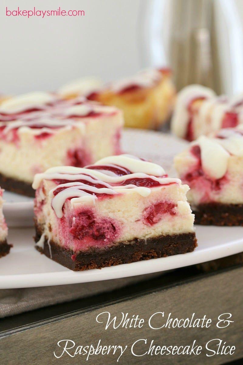 The BEST White Chocolate & Raspberry Cheesecake Slice #whitechocolateraspberrycheesecake