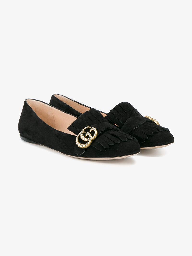 83628c0b4cd8 GUCCI Gg Vamp Fringe Flat Loafers