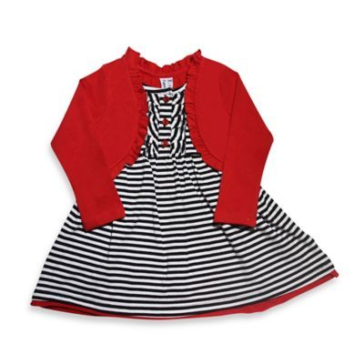 Black-and-White Striped Dress With Red Shrug - buybuyBaby.com $17